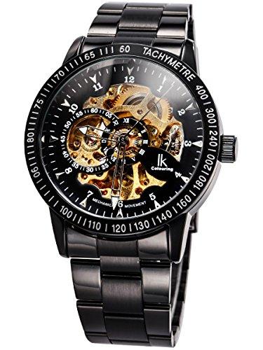 Alienwork IK Reloj Automático Hombre Mujer Negro Pulsera de Metal Acero Esqueleto