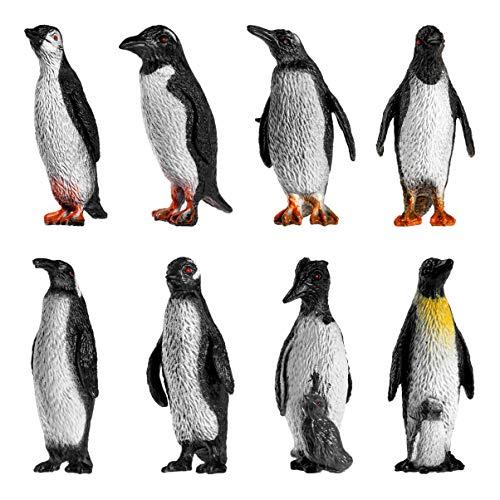 TOYANDONA 8 Piezas Figuras de Pingüino Modelos de Escultura Pingüino Bebé Juguete Lindo Pingüino en Forma de Pingüino a Granel Adorable Juguete Pintado a Mano para Niños Y Niños