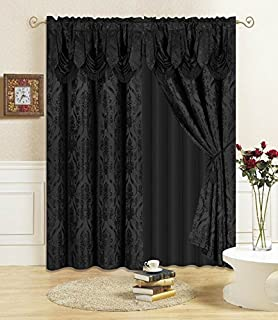 "All American Collection New 4 Piece Drape Set 84"" Length with Attached Valance and Sheer with 2 Tie Backs Included"
