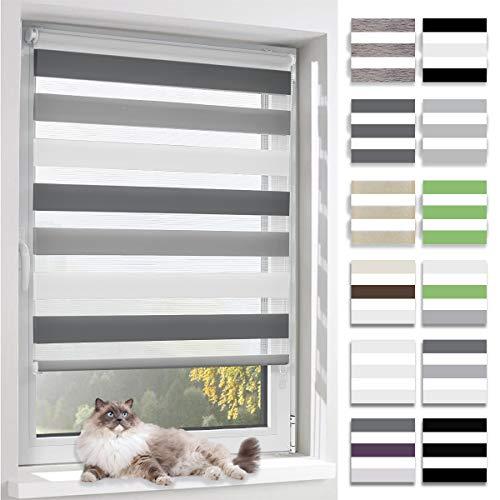 BelleMax Doppelrollo Klemmfix ohne Bohren Duo Rollo Sonnenschutz Rollos für Fenster und Tür, 80x130cm(BxH) Weiss Grau Anthrazit
