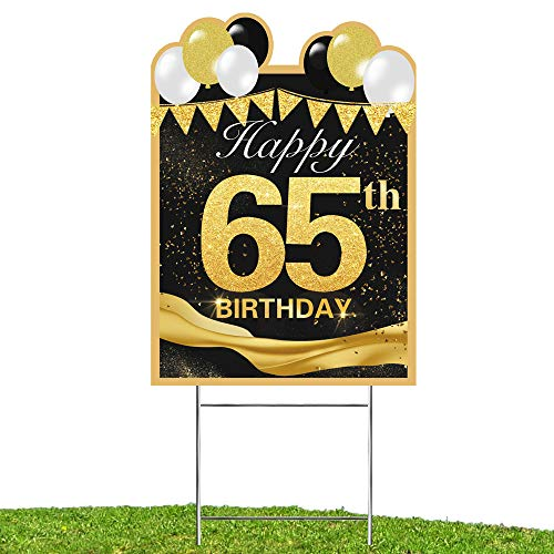 WOJOGO Happy 65th Birthday Yard Sign, Outdoor Lawn Sign for 65th Birthday Party Decoration, 18in Larger Size