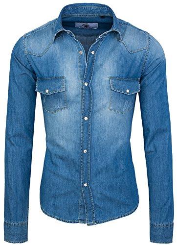 Rock Creek - Camicia da uomo in denim, in jeans, a maniche lunghe, taglia S-XXL, vestibilità normale, colore: blu Blau Rc-012 S