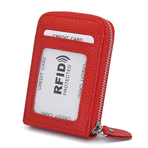 Tarjeteros para Tarjetas de Credito Mujer Hombre Piel con Cremallera Alrededor con el Bolsillo de la Moneda RFID Cuero Tarjeteros Pequeños de Visita (Rojo)