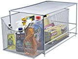 Sorbus Cabinet Organizer Drawer with Cover—Mesh Storage Organizer w/Pull Out Drawers—Stackable, Ideal for Countertop, Cabinet, Pantry, Under The Sink, Desktop and More (Silver Bottom Drawer)
