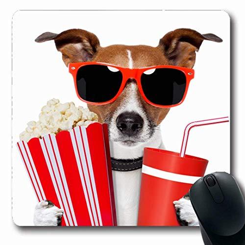 Luancrop Mousepads Terrier Red Fun Dog Aufpassen von lustigen Sportarten Erholung Popcorn Tiernahrung Mais Design rutschfeste Gaming Mouse Pad Gummi Längliche Matte
