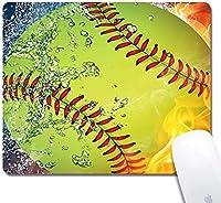 カスタマイズされたソフトボールクロスゴムゲーミングオフィスマウスパッド-240x200x3mmマウスパッド9.5x7.9x0.12インチ