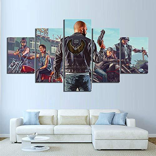 SILUYU 5 stuks Hd Cartoon Grand Theft Auto V spel poster kunstwerk canvas schilderij GTA spel kunst pint Hd schilderijen voor wanddecoratie ingelijst klein formaat