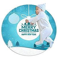 ソフトラウンドエリアラグ 100x100cm/39.4x39.4IN 滑り止めフロアサークルマット吸収性メモリースポンジスタンディングマット,クリスマスと新年あけましておめでとうございます