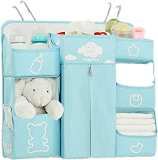AABABY Bedside Storage Bag Diaper Bag Crib Storage Bag Hanging Bag Multi-function Storage Rack Large Storage  Color Blue  Size 56X18X51CM