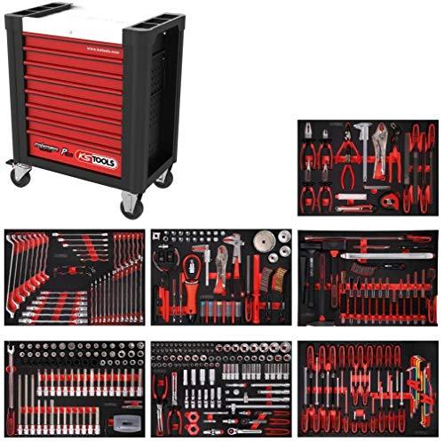 KS Tools 810.7397 PERFORMANCEplus Werkstattwagen P10, bestückt mit 397 Werkzeugen in 7 Einlagen für 7 Schubladen