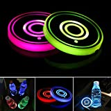 LED Car Cup Holder Lights,7 Colors Changing USB Charging Mat Waterproof Cup Pad,LED Interior Atmosphere Lamp Decoration Light Car Accessories (2pcs) (2 Rings)