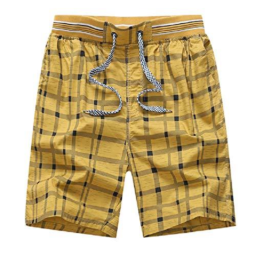 MOTOCO Herren Strandhosen Lose Plaid Print Atmungsaktive Shorts Schnell trocknende Badeshorts(XL,Gelb