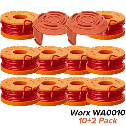 """Trimmerfaden, La Vane 7 Stück 10ft 0,065\"""" Autofeed Ersatz Trimmerspulen für Worx WG180 WG163 WG175 Electric String Trimmers mit WA6531 GT Ersatzspulenkappe - 10x Spule, 2x Kappe"""