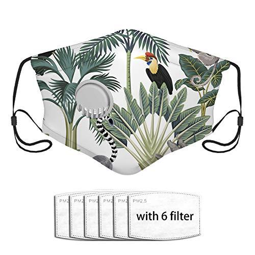 Neoqwez Tropical Vintage Wild Animals Tucán Palmeras Banana Tree M 1 paquete lavable y transpirable que cubre la boca con 6 filtros de carbón activado extra