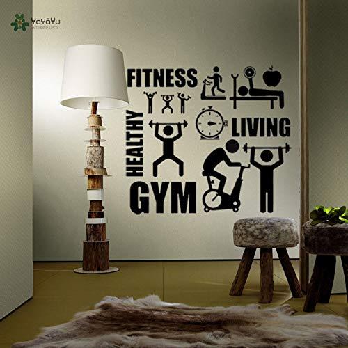 Fotobehang gezonde levensstijl sport muursticker motivatie fitnessruimte vinyl decoratie kunst aan de muur herhalen 63x70cm