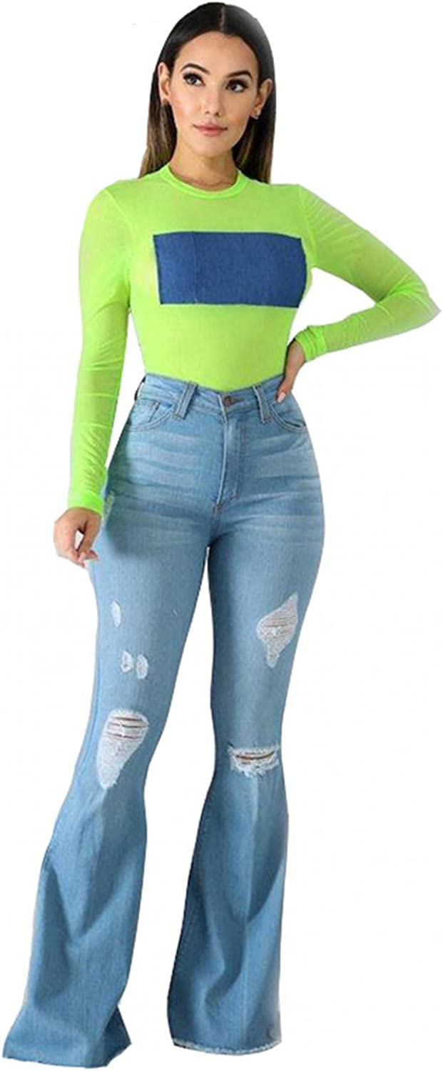 YUNDAN Women's High Waist Ripped Jeans Fashion Flared Bootcut Denim Pants Regular Fit Washed Blue Destroyed Trousers