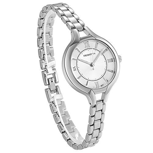 JewelryWe Damen Uhr Schlank Silber Metall Band Uhren Einfach Design Klassisch Mode Ultra Dünn Business Beiläufig Armbanduhr mit Weiß Römischen Ziffern Zifferblatt