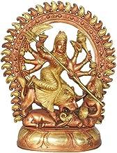 Mahishasura-Mardini Goddess Durga - Brass Statue - Color Copper Gold Color