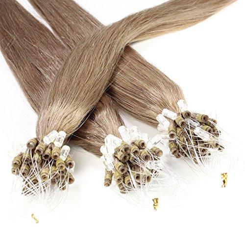 Just Beautiful Hair 100 Micro Loop Extensions con Anelli, Capelli Veri Remy Indiani 50cm - #14 biondo scuro, 1x100 ciocche