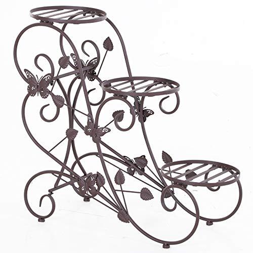 Outsunny Pflanzenregal, Dreistufiger Blumenstand, Blumentreppe im französischem Stil, Pflanzenstand, Metall, Bronze, 75 x 28 x 66 cm