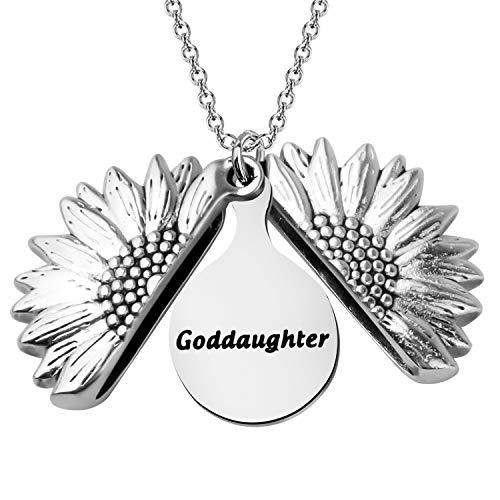 BEKECH Godmother Goddaughter Jewelry Godmother Goddaughter Sunflower Locket Necklace Set Religious Jewelry Gift for godmother goddaughter Baptism Gift First Communion Gift (goddaughter)