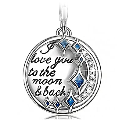 """NinaQueen 925 Sterling Silver Dangle Engraved with """"I Love You to the Moon and Back"""" Fit Pandöra Charms Birthday Anniversary Christmas Gifts For Woman Wife Mom Teen Girls Valentines Day Gifts For Her"""