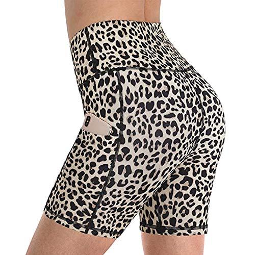 The Wolfdragon Frauen Tasche Yoga Sport Leopardenmuster Trainingshose High Waist Fitness Shorts Fahrrad Wandern Sport Shorts Beige S