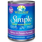 Wellness Simple Natural Grain Free Wet Canned Limited Ingredient Dog Food, Turkey & Potato, 12.5-Ounce Can (Pack Of 12)