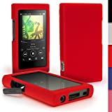 iGadgitz U6413 Rosso Funda Carcasa Silicona Case Compatible con Sony Walkman NW-A35 NW-A40 NW-A45 Reproductor de MP3 + Protector de Pantalla