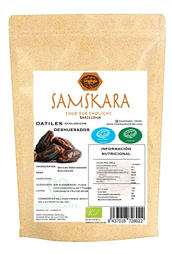Datiles Deshuesados Ecologico BIO 1kg Samskara Organic Seedless Dates   for Vegan/Raw Cakes/Energy Bars/Smoothies (1kg)