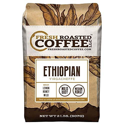 Fresh Roasted Coffee LLC, Ethiopian Yirgacheffe Coffee, Medium Roast, Whole Bean, 2 Pound Bag