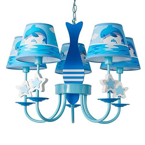 Kinderlampen plafond Pendnat Mediterrane kroonluchter 5 hoofd eenvoudige Amerikaanse kinderkamer licht creatieve woonkamer slaapkamer woonkamer verlichting A+