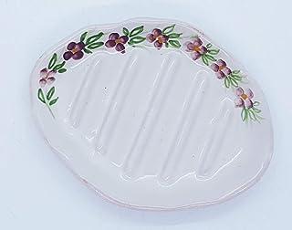 Portasapone Linea Fiori Ceramica Realizzato e dipinto a mano Le Ceramiche del Castello Made in Italy Dimensioni 13 x 9,5 cm