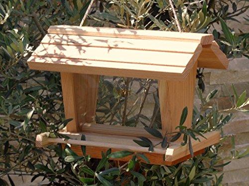 Vogelfutterhaus BEL-X-VOFU2G-natur002 PREMIUM Vogelhaus mit großem 3D-SILO + RIESEN-SICHTSCHEIBEN Vogelfutterhaus NEU Holz Nistkasten natur Gartendeko, KOMPLETT MIT 2 GROSSEN SICHTSCHEIBEN FÜR FUTTERVORRAT, als Ergänzung zum Meisenkasten oder zum Insektenhotel, Vogelfutterhaus Vogelfutterhaus, für Vögel, Vogelfutterhaus zum Hängen und zum Aufstellen