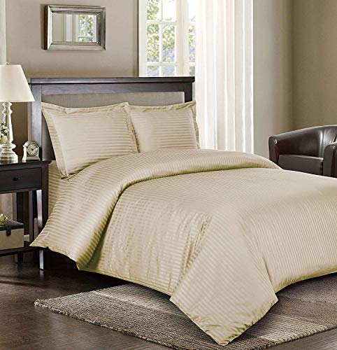 Royal Bedding Striped Tan 300-Thread-Count 3pc California-King Duvet-Cover 100-Percent Cotton, Sateen Striped, Comforter Cover with Corner Ties