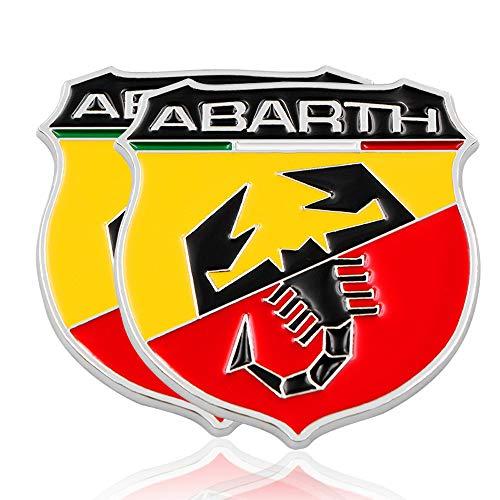 L&U 2pcs Coche Cromado Insignia del Emblema de la Etiqueta engomada Fender Abarth Italia para Todos Fiat Abarth Punto 124/125/125/500 Car Styling,Style 1