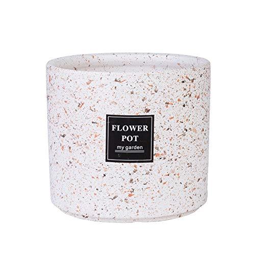 Thwarm Grand Pot d'intérieur en céramique fleur vintage terrazzo style Pot Fleurs de cactus Plante Succulentes Planteur Salon Accueil Bureau Vert Dill Fortune Arbre Blanc Cactus Flower Pot