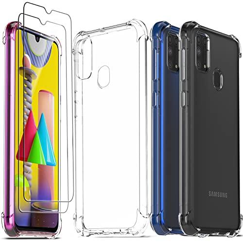 Ferilinso Hüllen für Samsung Galaxy M31 / M31 Prime mit 2 Pack Panzerglas, transparente Samsung Galaxy M31 / M31 Prime Hülle, Schutzfolie, für Samsung Galaxy M31 / M31 Prime