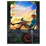 Ghychk The Legend of Zelda Breath of the Wild Oil Paintings - Arte decorativo para el hogar, dormitorio, oficina, sin marco, 40,6 x 60,9 cm