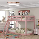 Low Bunk Beds Twin Over Twin, Wood Twin Bunk Bed Frame with Safety Rail Ladder for Kids Bedroom, Pink Loft Bed for Boys Girls Toddlers