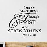 Wandsticker mit inspirierendem Zitat 'I can do All Things Through Christ', für...