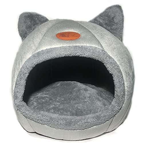 Cama Iglú Gato Grande | Caseta con Forma de Cueva Talla XL con Cojín Interior de Felpa Extraíble También para Raza de Perro Pequeña | 2 en 1 Nido Cerrado o Cama Abierta.