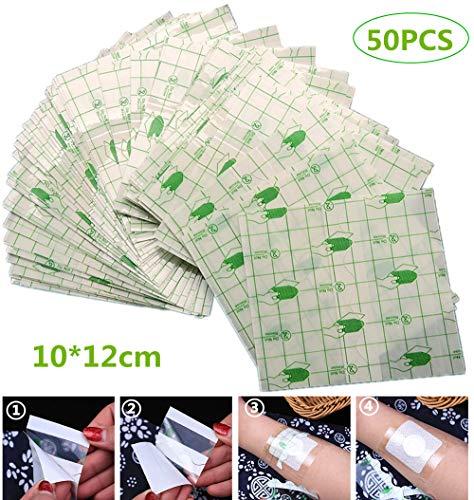 Waterdicht Transparant Lijm, Medisch wondverband Tape Fixer Gips Stretch Fixatie Tape Tattoo Nazorg Bandage Anti-allergisch zelf plakken, 10cmX12cm, 50st