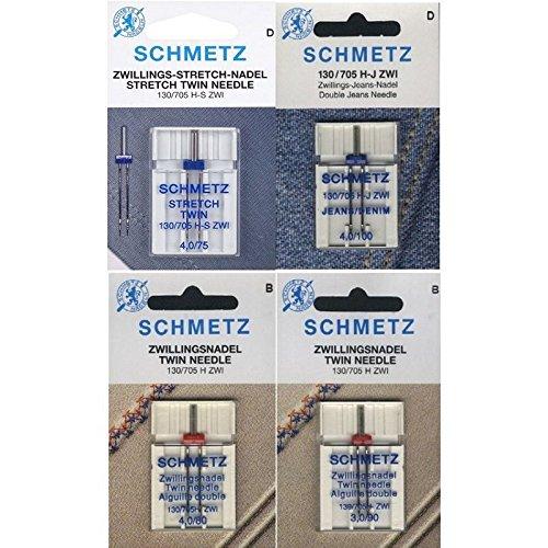 Schmetz - Assortimento di aghi gemelli Stretch, gemelli Jeans, gemelli Universal, per macchina da cucire 130 705H 4 aghi