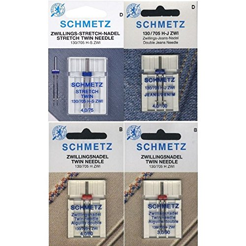 Schmetz Nadelsortiment Stretch Twin/ Jeans Twin/ Universal Twin/ System 130/705H/4 Nadeln