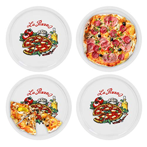 "Van Well - Set di 4 piatti da pizza ""Napoli"" in porcellana, diametro 30,5 cm, con stampa"