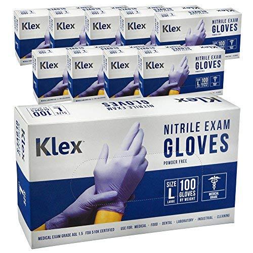 Klex Nitrile Exam Gloves - Medical Grade, Powder Free, Latex Rubber Free, Disposable, Food Safe, Lavender L Large