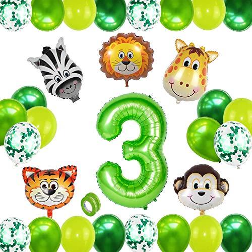 HIQE-FL Globo 3,Selva Fiesta de Cumpleaños Decoracion,Globos Grandes de Cumpleaños,3 Globo Cumpleaños,Decoracion Cumpleaños Niño 3 Años