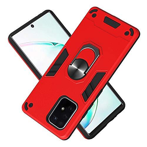 FAWUMAN Armure Coque Samsung Galaxy A91, Boîtier PC + TPU Double Layer Housse résistant aux Chocs avec Support à Anneau Rotatif à 360 degrés (Rouge)