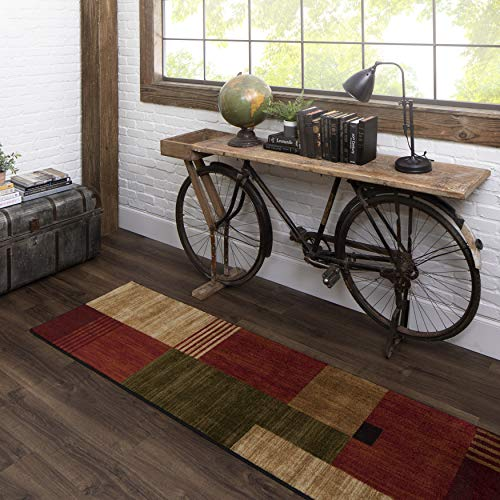 Mohawk Home New Wave Alliance Geometric Runner Area Rug, 2'x8', Tan/Red/Green